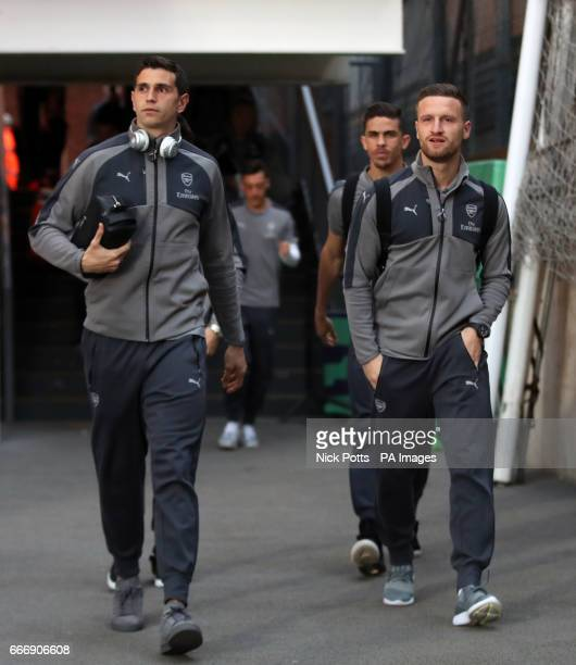 Arsenal goalkeeper Emiliano Martinez and Shkodran Mustafi arrive for the Premier League match at Selhurst Park London