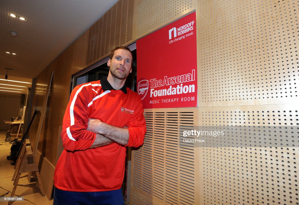 Image result for Arsenal Cech visits music therapy centre