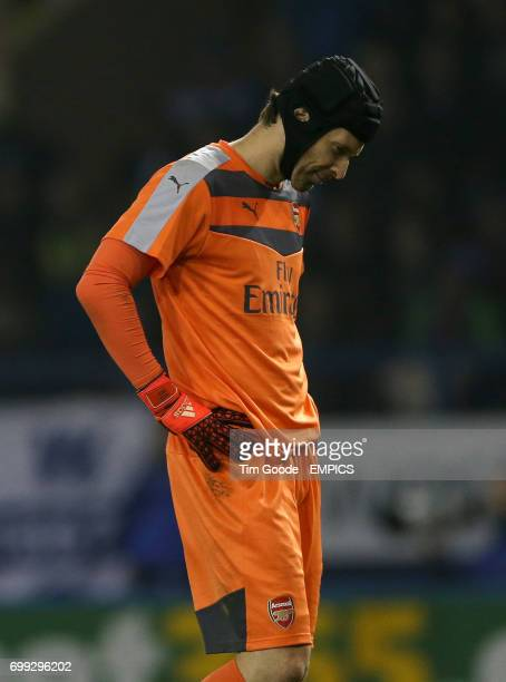 Arsenal goalkeeper Petr Cech looks dejected in the 80th minute