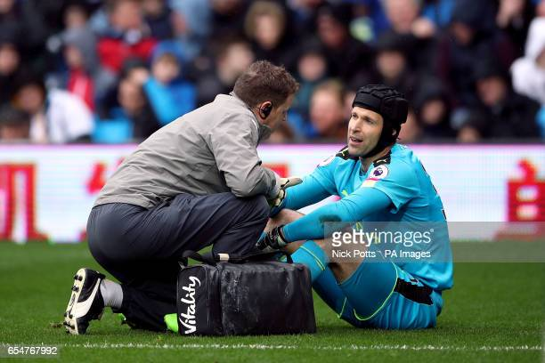 Arsenal goalkeeper Petr Cech picks up an injury during the Premier League match at The Hawthorns West Bromwich