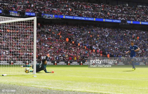Arsenal goalkeeper Petr Cech saves a penalty from Alvaro Morata of Chelsea during the FA Community Shield match between Chelsea and Arsenal at...