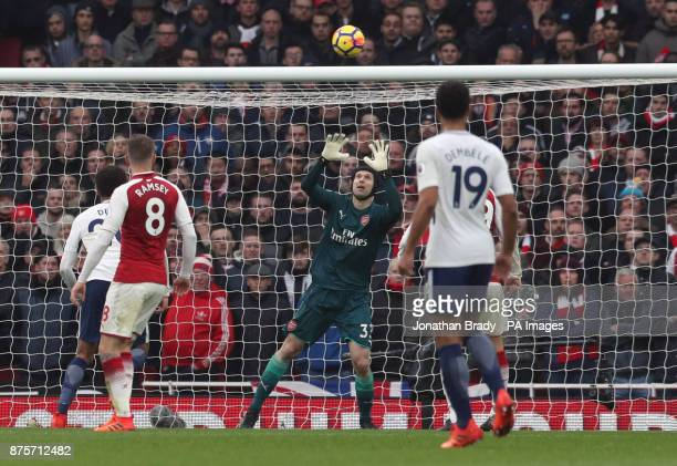 Arsenal goalkeeper Petr Cech saves an effort on goal during the Premier League match at the Emirates Stadium London