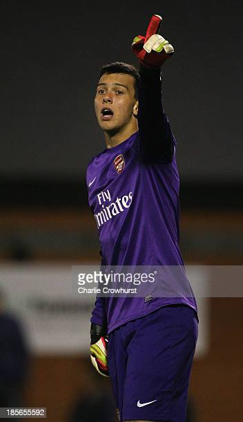 Arsenal keeper Deyan Iliev organises his defence during the UEFA Youth League match between Arsenal U19 and Borussia Dortmund U19 at Meadow Park on...