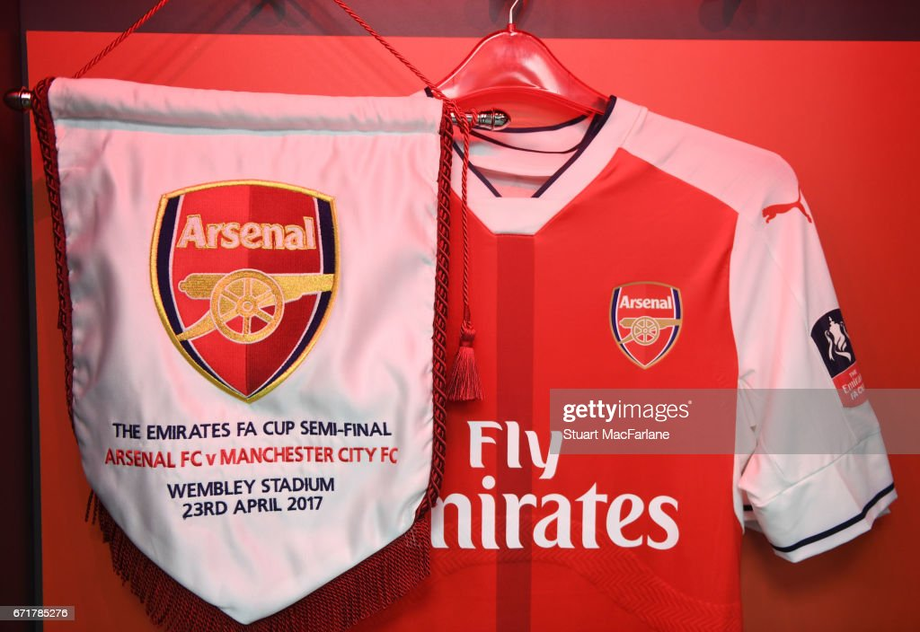 Arsenal kit in the changing room before The Emirates FA Cup Semi-Final match between Arsenal and Manchester City at Wembley Stadium on April 23, 2017 in London, England.