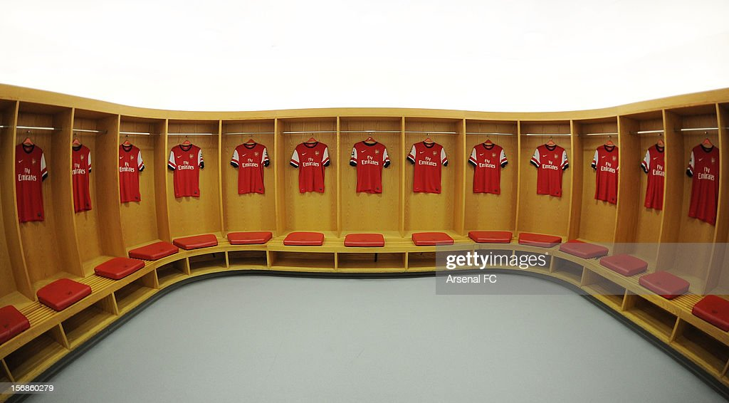 Arsenal kits with Emirates shirt sponsorship displayed in the home changing room as Arsenal Football Club announce a new commercial partnership with Emirates Airlines at Emirates Stadium on November 23, 2012 in London, England.