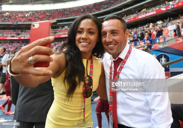 Arsenal ladies Alex Scott takes a selfie with injured Arsenal midfielder Santi Cazorla before the Emirates FA Cup Final between Arsenal and Chelsea...
