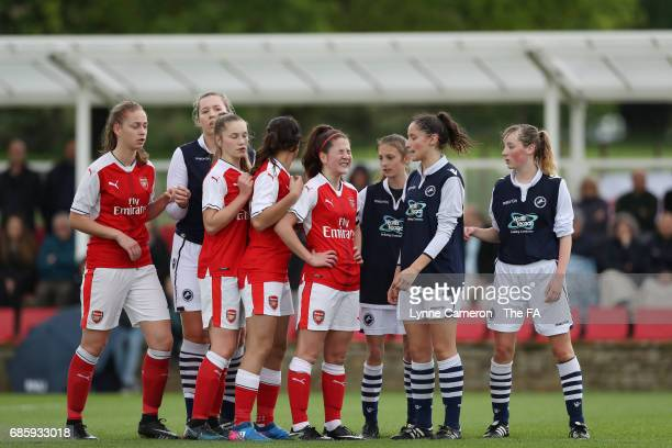 Arsenal Ladies and Millwall Lionesses wait for a corner during the FA Girls' Youth Cup Final between Millwall Lionesses U16 Vs Arsenal Ladies U16 at...