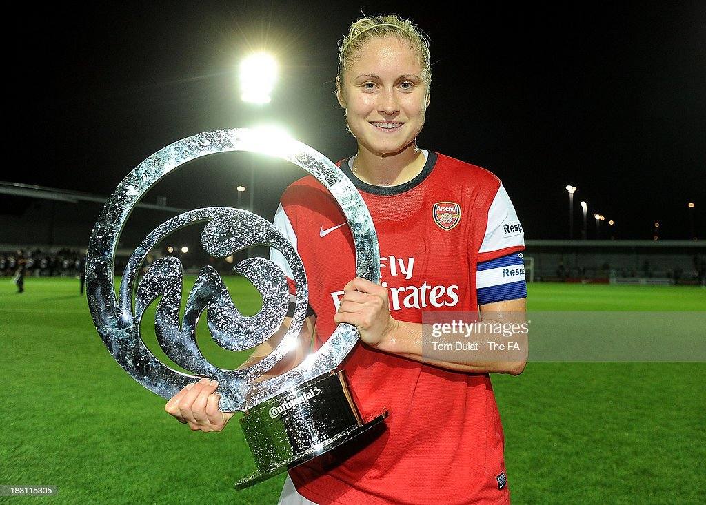 Arsenal Ladies captain Steph Houghton celebrates with the trophy during the The FA WSL Continental Cup Final match between Arsenal Ladies FC and...
