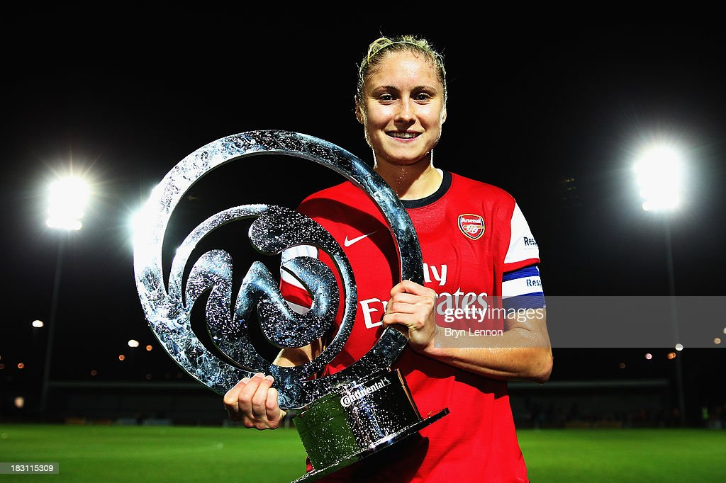 Arsenal Ladies Captain Steph Houghton poses with the trophy after winning the FA WSL Continental Cup Final between Arsenal Ladies and Lincoln Ladies...