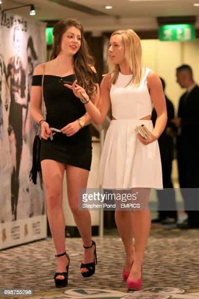 Arsenal Ladies' Carla Humphrey and Jordan Nobbs arriving for the PFA Player of the Year Awards 2015 at the Grosvenor House Hotel London