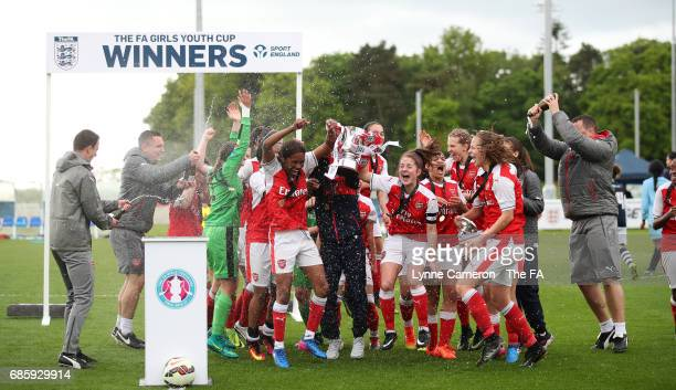 Arsenal Ladies celebrate after winning the FA Girls' Youth Cup Final between Millwall Lionesses U16 Vs Arsenal Ladies U16 at St Georges Park on May...