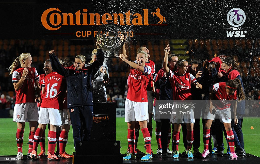 Arsenal Ladies celebrate with the trophy after winning the The FA WSL Continental Cup Final match between Arsenal Ladies FC and Lincoln Ladies FC at...