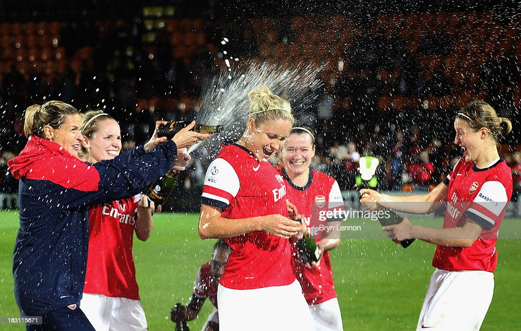 Arsenal Ladies Manager Shelley Kerr celebrates with Captain Steph Houghton and Ellen White after winning the FA WSL Continental Cup Final between...