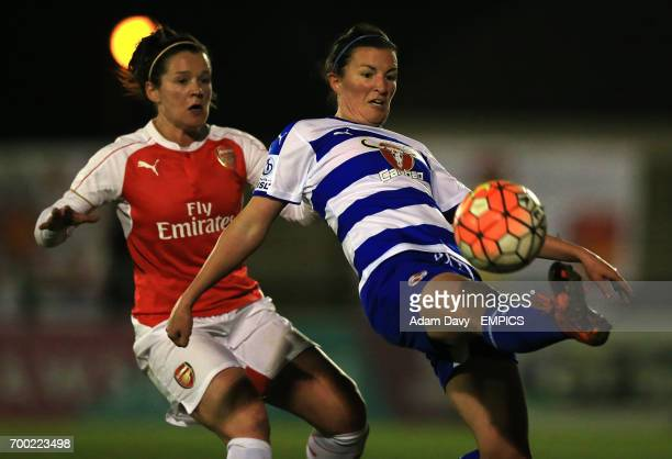 Arsenal Ladies' Dominique Janssen and Reading Women's Helen Ward battle for the ball