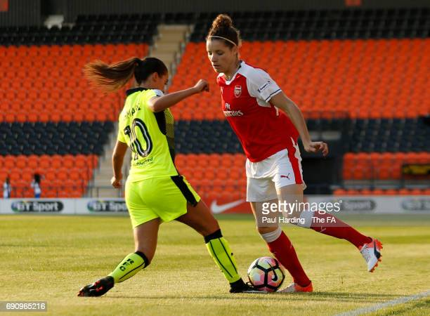 Arsenal Ladies' Dominique Janssen Reading Ladies' Anissa Lahmari at The Hive on May 31 2017 in Barnet England