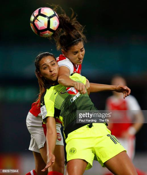 Arsenal Ladies' Fara Williams Reading Ladies' Anissa Lahmari during the WSL 1 match between Arsenal Ladies and Reading FC Women at The Hive on May 31...