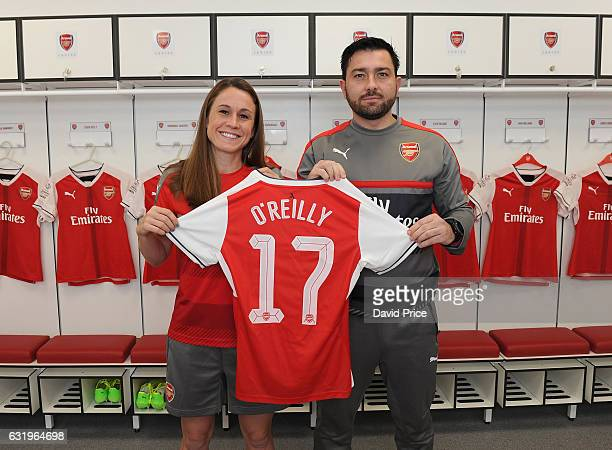 Arsenal Ladies latest signing Heather O'Reilly with Arsenal Ladies Manager Pedro Martinez Losa at London Colney on January 16 2017 in St Albans...