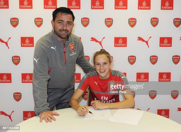 Arsenal Ladies latest signing Vivianne Miedema with Arsenal Ladies Manager Pedro Martinez Losa at London Colney on May 23 2017 in St Albans England