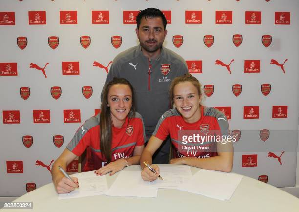 Arsenal Ladies latest signings Lisa Evans and Vivianne Miedema pose with Arsenal Ladies Manager Pedro Martinez Losa during a photocall at London...