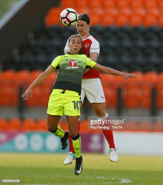 Arsenal Ladies' Lotte WubbenMoy Reading Ladies' Anissa Lahmari at The Hive on May 31 2017 in Barnet England