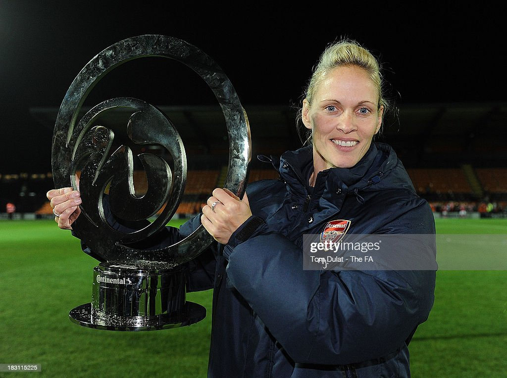 Arsenal Ladies manager Shelley Kerr celebrates with the trophy during the The FA WSL Continental Cup Final match between Arsenal Ladies FC and...