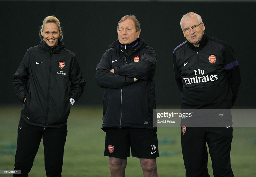 Arsenal Ladies Manager Shelley Kerr chats to General Manager Vic Akers and her Assistant Manager John Bayer during an Arsenal Ladies Training Session at Arsenal Training Ground on March 19, 2013 in St. Albans, Hertfordshire, England.