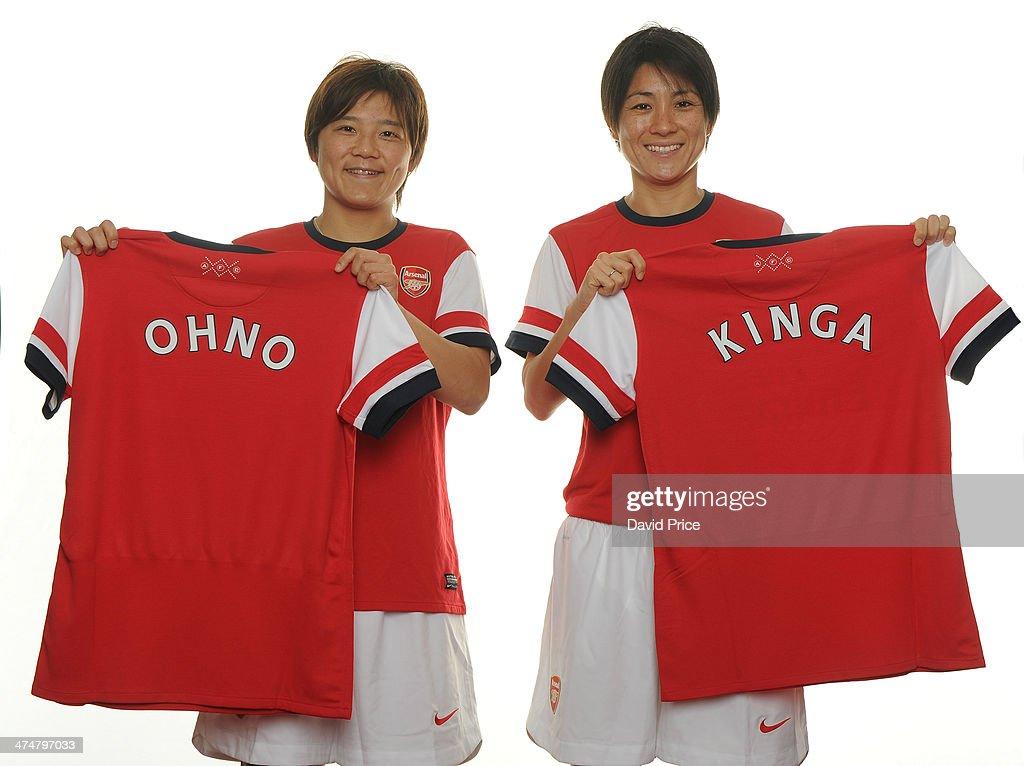 (MINIMUM PRINT/BROADCAST FEE OF 18000 YEN, ONLINE FEE OF 12500 YEN PER IMAGE) Arsenal Ladies new signings Shinobu Ohno and Yukari Kinga at Arsenal Training Ground at London Colney on February 25, 2014 in St Albans, England.