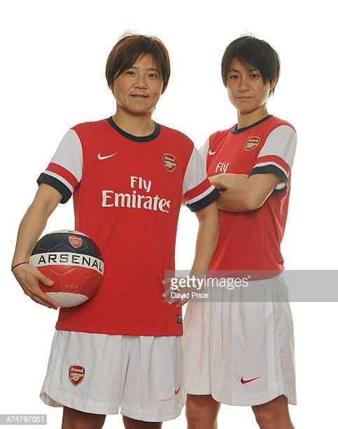 Arsenal Ladies new signings Shinobu Ohno and Yukari Kinga at Arsenal Training Ground at London Colney on February 25 2014 in St Albans England