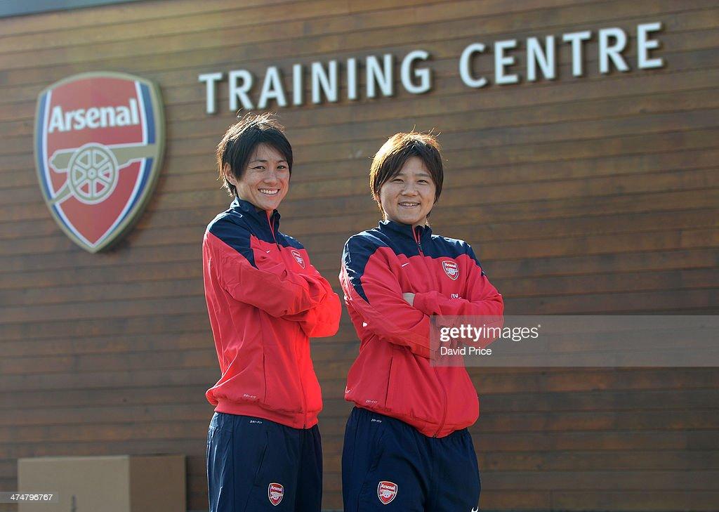(MINIMUM PRINT/BROADCAST FEE OF 18000 YEN, ONLINE FEE OF 12500 YEN PER IMAGE) Arsenal Ladies new signings Yukari Kinga and Shinobu Ohno at Arsenal Training Ground at London Colney on February 25, 2014 in St Albans, England.