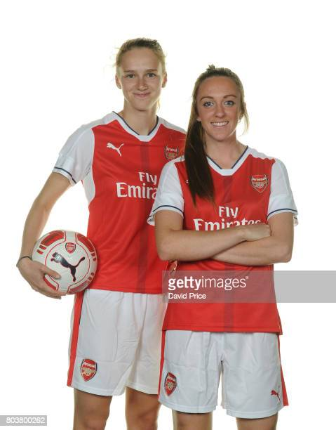 Arsenal Ladies signings Lisa Evans and Vivianne Miedema pose during a photocall at London Colney on May 16 2017 in St Albans England