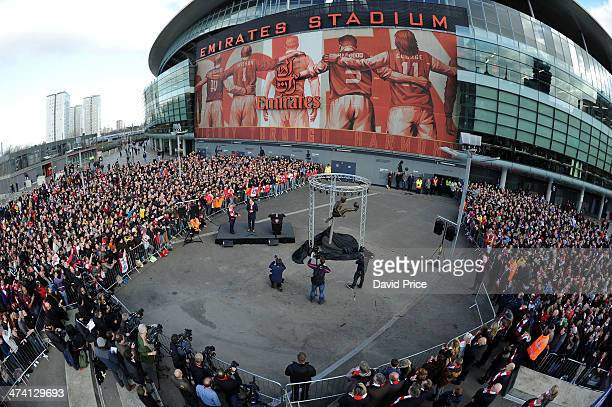 Arsenal Legend Dennis Bergkamp at the stadium to unveil a statue outside the stadium in his honour before the match between Arsenal and Sunderland in...