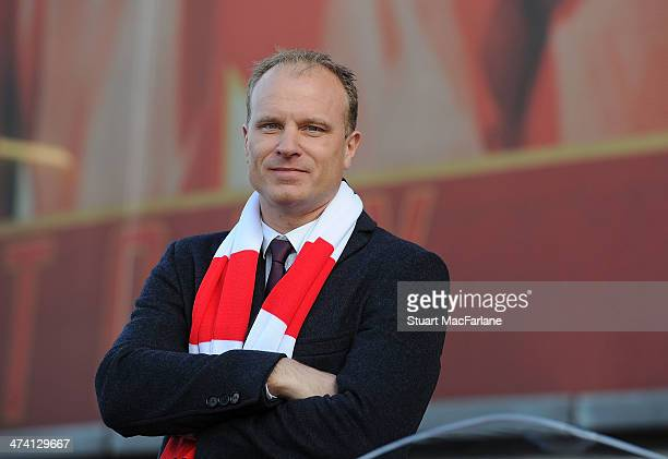 Arsenal legend Dennis Bergkamp at the unveiling of a statue in his honour before the Barclays Premier League match between Arsenal and Sunderland at...