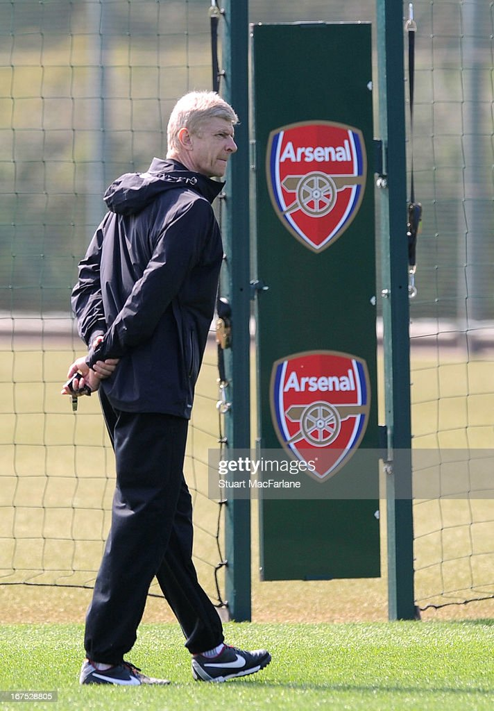 Arsenal manager Arseen Wenger during a training session at London Colney on April 26, 2013 in St Albans, England.