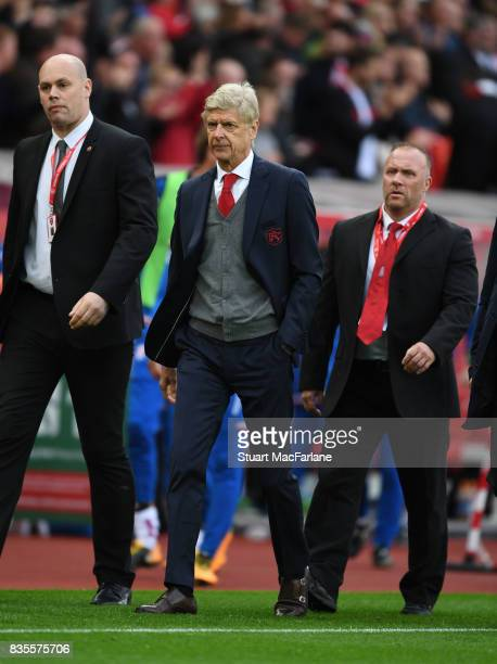Arsenal manager Arsene Wenger after the Premier League match between Stoke City and Arsenal at Bet365 Stadium on August 19 2017 in Stoke on Trent...