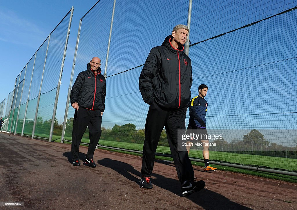 Arsenal manager <a gi-track='captionPersonalityLinkClicked' href=/galleries/search?phrase=Arsene+Wenger&family=editorial&specificpeople=171184 ng-click='$event.stopPropagation()'>Arsene Wenger</a> and assistant Steve Bould before a training session at London Colney on November 5, 2012 in St Albans, England.