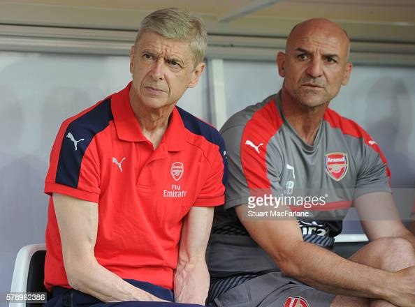 Arsenal manager Arsene Wenger and assistant Steve Bould before a pre season friendly between RC Lens and Arsenal at Stade BollaertDelelis on July 22...
