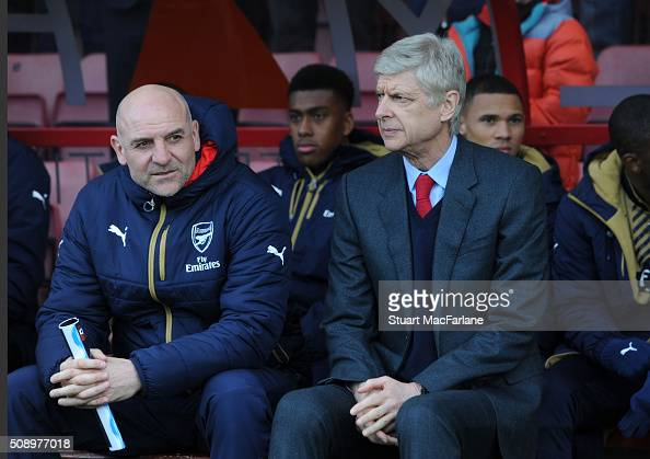 Arsenal manager Arsene Wenger and assistant Steve Bould before the Barclays Premier League match between AFC Bournemouth and Arsenal at The Vitality...