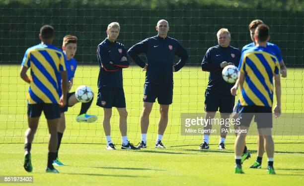 Arsenal manager Arsene Wenger and assistant Steve Bould during a training session at London Colney St Albans