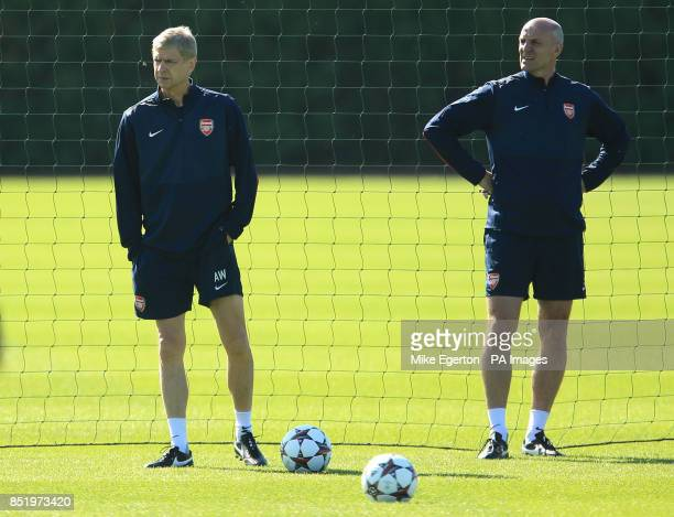 Arsenal manager Arsene Wenger and assistant Steve Bould during a training session at London Colney St Albans PRESS ASSOCIATION Photo Picture date...