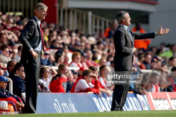 Arsenal manager Arsene Wenger and Chelsea manager Claudio Ranieri watch their players in action from the touchline