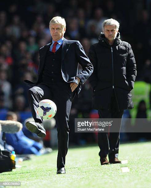 Arsenal manager Arsene Wenger and Chelsea manager Jose Mourinho during the Barclays Premier League match between Chelsea and Arsenal at Stamford...