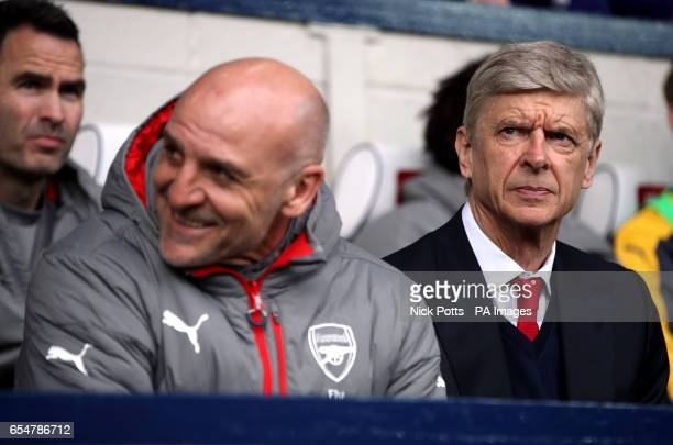 Arsenal manager Arsene Wenger and his assistant Steve Bould during the Premier League match at The Hawthorns West Bromwich