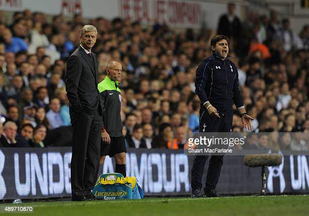 Arsenal manager Arsene Wenger and Tottenham manager Mauricio Pochettino before the Capital One Cup Third Round match between Tottenham Hotspur and...