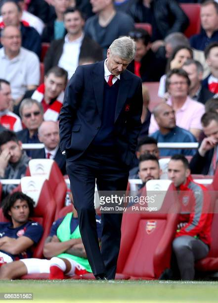 Arsenal manager Arsene Wenger appears dejected during the Premier League match at the Emirates Stadium London