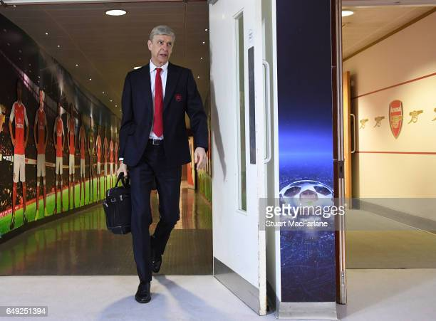 Arsenal manager Arsene Wenger arrives at the home changing room before the UEFA Champions League Round of 16 second leg match between Arsenal FC and...