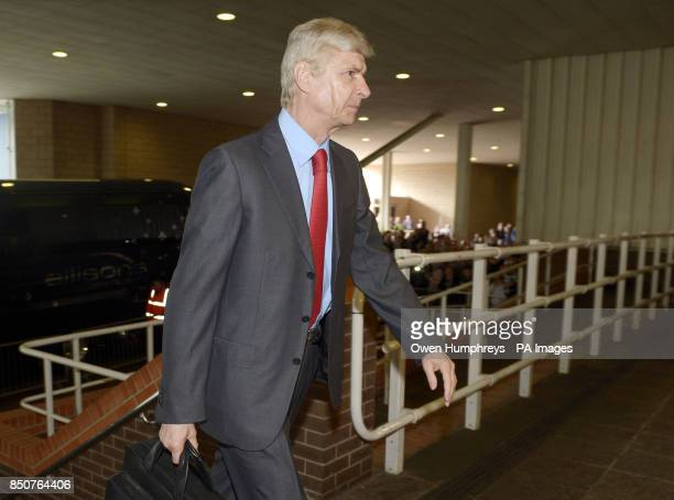 Arsenal manager Arsene Wenger arrives for the Barclays Premier League match at St James' Park Newcastle