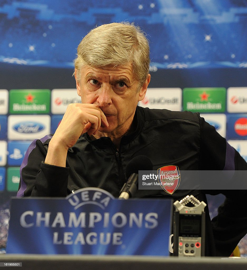 Arsenal manager Arsene Wenger attends a press conference ahead of their UEFA Champions League match against FC Bayern Muenchen at London Colney on February 18, 2013 in St Albans, England.