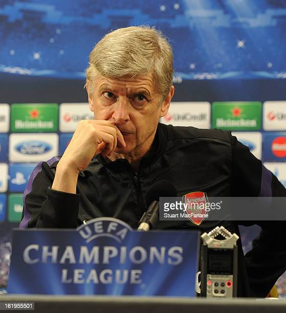 Arsenal manager Arsene Wenger attends a press conference ahead of their UEFA Champions League match against FC Bayern Muenchen at London Colney on...