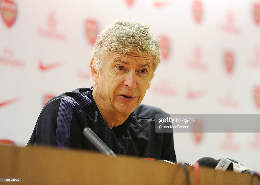 Arsenal manager <a gi-track='captionPersonalityLinkClicked' href=/galleries/search?phrase=Arsene+Wenger&family=editorial&specificpeople=171184 ng-click='$event.stopPropagation()'>Arsene Wenger</a> attends a press conference at Emirates Stadium on January 03, 2013 in London, England.
