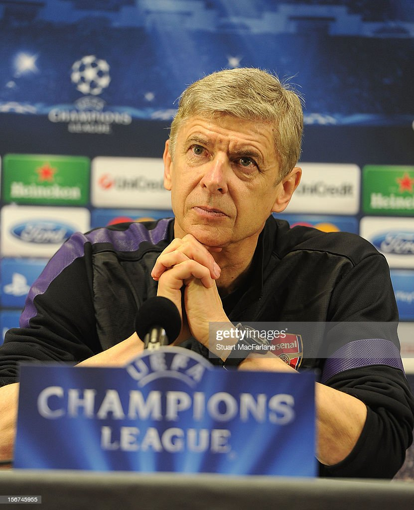Arsenal manager <a gi-track='captionPersonalityLinkClicked' href=/galleries/search?phrase=Arsene+Wenger&family=editorial&specificpeople=171184 ng-click='$event.stopPropagation()'>Arsene Wenger</a> attends a press conference at London Colney on November 20, 2012 in St Albans, England.